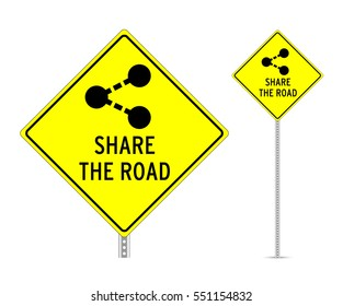 Share the road traffic sign vector