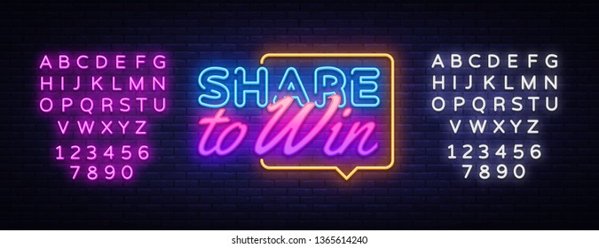 Share to Win neon text vector design template. Share to Win neon sign, light banner design element colorful modern design trend, night bright advertising, bright sign. Vector. Editing text neon sign