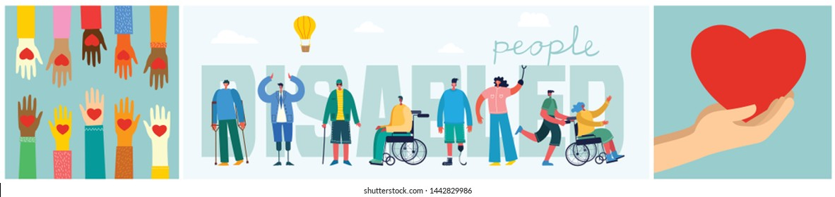 Share your heart. Vector background with disabled girl, young invalid person with friend and hands with heart