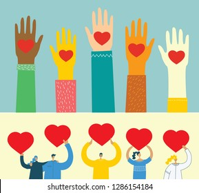 Share your Love. Hands with hearts as love massages. Vector illustration for Valentine's day in the modern flat style