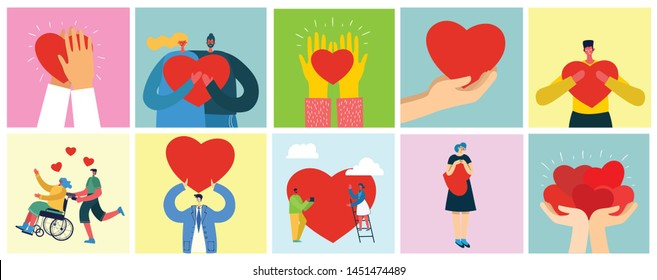 Share your Love. Hands and people with hearts as love massages. Vector illustration for Valentine's day in the modern flat style