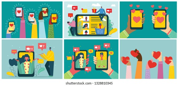 Share your love. Vector Valentine's concept on online dating application in flat design. Male and female hands holding mobile phones with abstract dating app profile on display.