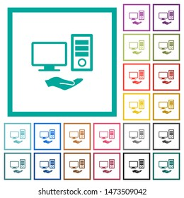 Shared computer flat color icons with quadrant frames on white background