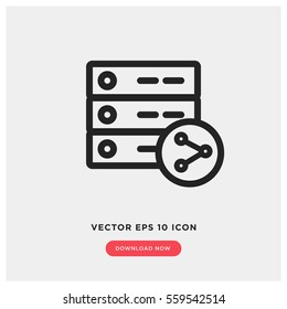 Shared hosting vector icon, database symbol. Modern, simple flat vector illustration for web site or mobile app