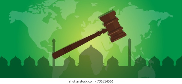 sharia Islam law justice verdict case legal gavel wooden hammer crime court auction symbol