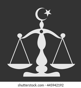Sharia - scale symbolizing justice with crescent. Traditional law and code of ethics of islam religion and islamic culture. Simple vector illustration