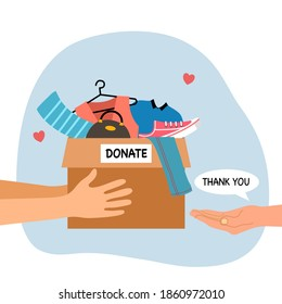 Sharing clothes to people. Clothes donation concept. Woman hand holding box full of clothes and accessories in flat design vector illustration on white background. Time for charity.