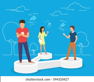 Sharing data concept vector illustration of young people using mobile smartphone to share posts and news in social networks. Flat people standing on symbol and reposting images and news to each other
