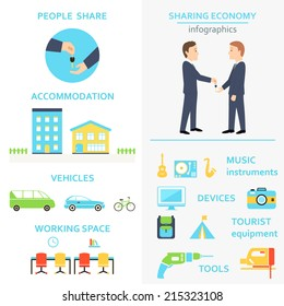 Sharing Economy and Collaborative Consumption Infographics Set