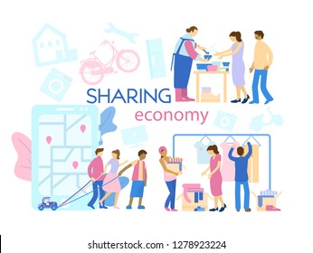 Sharing economy concept banner. Different ascpects of sharing economy: car sharing, food and clothes donation.