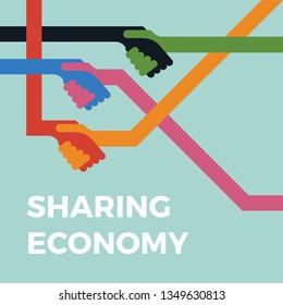 Sharing economy concept illustration. Handshake vector icon