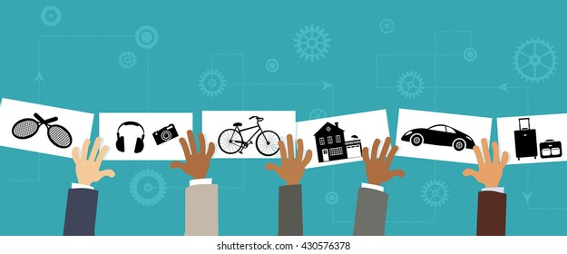 Sharing economy, conceptual vector illustration, EPS8, no transparencies