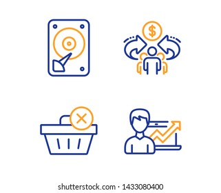 Sharing economy, Hdd and Delete purchase icons simple set. Success business sign. Share, Hard disk, Remove from basket. Growth chart. Business set. Linear sharing economy icon. Colorful design set