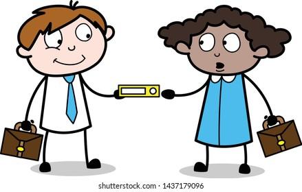 Sharing a File - Office Businessman Employee Cartoon Vector Illustration