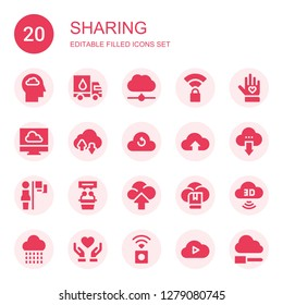 sharing icon set. Collection of 20 filled sharing icons included Cloud, Donation, Cloud computing, Wireless, Voluntary, Leadership, Interview, Computing cloud, Donate, Wireless internet