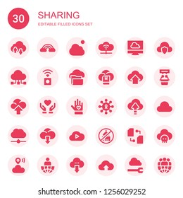 sharing icon set. Collection of 30 filled sharing icons included Cloud, Cloud computing, Data sharing, Wireless internet, Donate, Voluntary, Sharing, Ngo, Interview, Leader