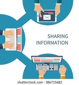 Sharing information concept vector. Social Network, information exchange, data, web, internet. Connection and share. Flat design. Global communication. Vector illustration. User device on sign share.