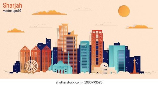 Sharjah city colorful paper cut style, vector stock illustration. Cityscape with all famous buildings. Skyline Sharjah city composition for design