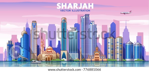Sharjah city skyline. The capital of the country is United Arab Emirates. Vector illustration