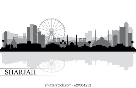 Sharjah city skyline silhouette background, vector illustration