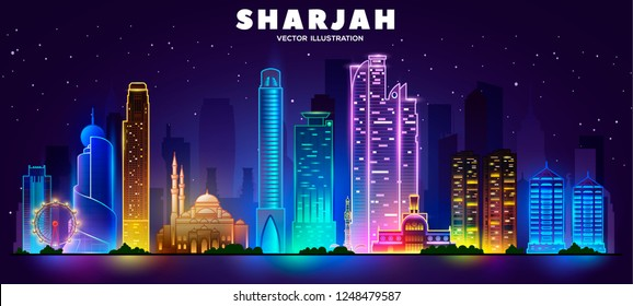 Sharjah night skyline (United arab emirates). Vector illustration. Business travel and tourism concept with modern buildings. Image for banner or web site.