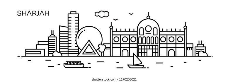 Sharjah panorama city. Flat line style. For banner, presentation, cards, web page. Vector illustration