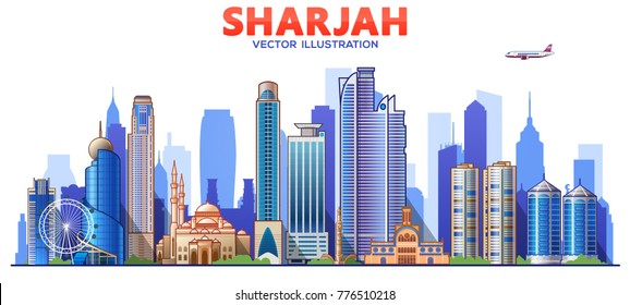 Sharjah skyline with panorama in sky background. Vector Illustration.