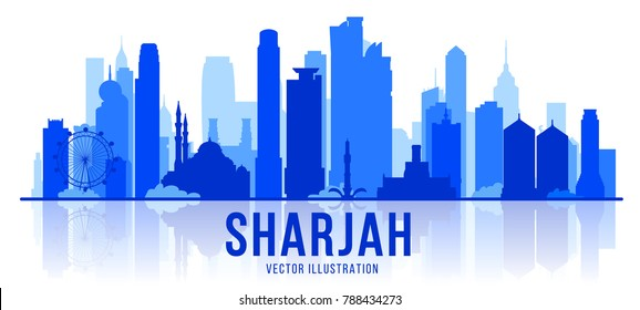 Sharjah (United Arab Emirates) city silhouette skyline on whithe background. Vector Illustration. Business travel and tourism concept with modern buildings. Image for banner or web site.