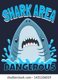 Shark area poster. Attack sharks, ocean diving and sea surf warning. Extreme surfing beach shirt typography shark mascot print art or marine fish horror banner cartoon vector illustration