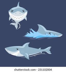 Shark attack jaw teeth mad furious view, vector illustration cartoon.