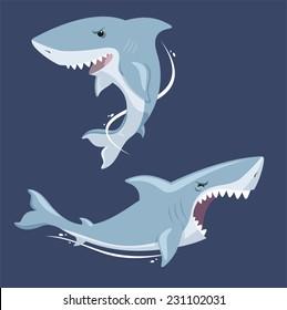 Shark attack jaw teeth mad furious terror view, vector illustration cartoon.