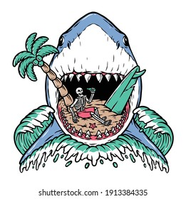 Shark attack on the beach illustration