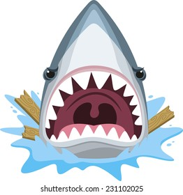 Shark attack with open jaws full of teeth and angry expression, cartoon illustration.