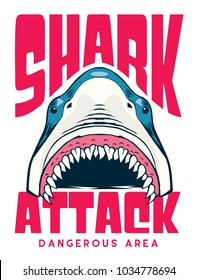 shark attack poster / t shirt vector design