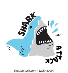 Shark attack. Print with cartoon shark for t-shirt, textile, fabric, card, wear, case phone , poster.