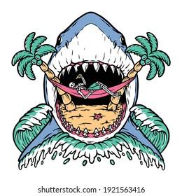 Shark attack skull on beach illustration