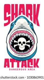 shark attack t shirt / poster design