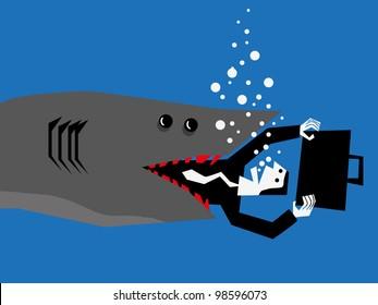 shark attacks a businessman
