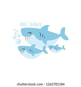 Shark and baby shark. Animal family cartoon.