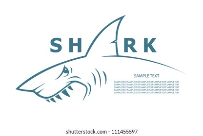 Shark banner - vector illustration