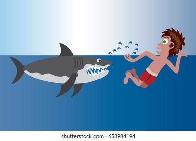 Shark Beach A Swimmer trying to out-swim a shark,