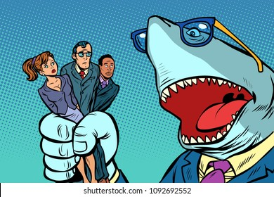 Shark boss business and office staff. Comic book cartoon pop art retro illustration