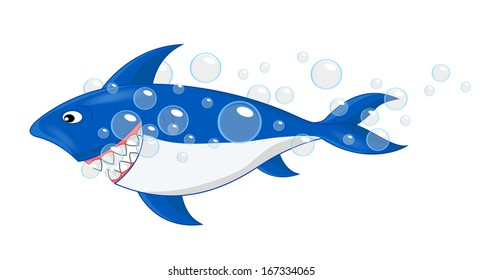 Shark With Bubble Cartoon