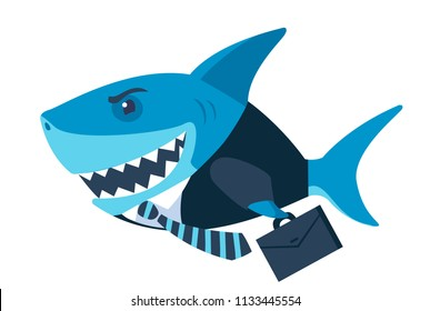 shark business. cartoon vector illustration