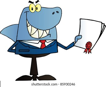 Shark Businessman Holding A Bad Contract In His Hand