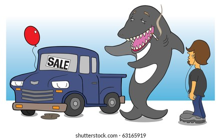 Shark car salesman attempting to sell questionable pickup to teen.