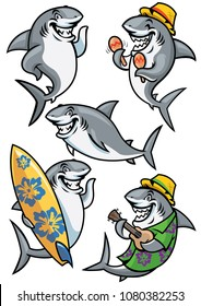 shark cartoon character set