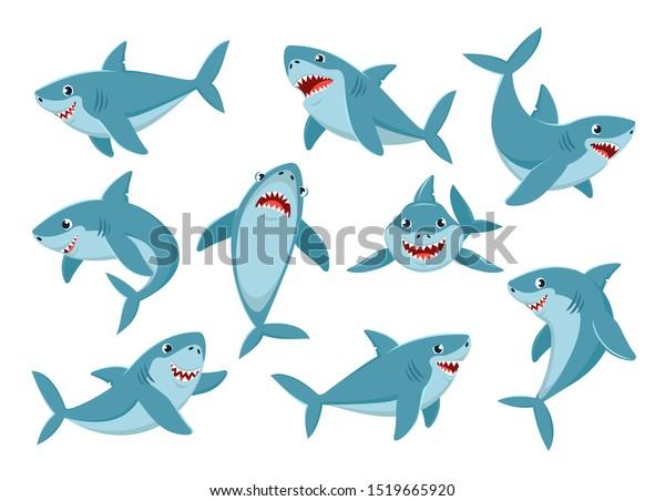 Shark. Cartoon ocean fish character. Comic sharks emotions. Shark fish mascot. Sharks for baby, kids and family.  Vector illustration isolated icons set