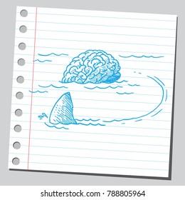 Shark circling around brain