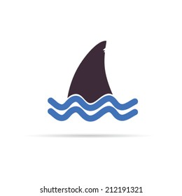 shark color icon vector illustration on white
